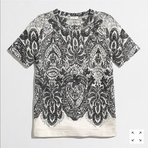 Jcrew Lace Print Short Sleeve Sweatshirt
